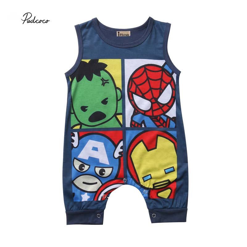 Pudcoco 2018 Newborn Infant Baby Boy Girl   Rompers   Cartoon Superhero Cute Sleeveless Jumpsuit Summer Cotton Clothes Outfit 0-24M