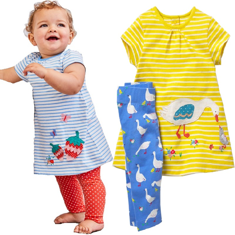 Duck Baby Girl 2-Pieces Clothes Suits Summer Fashion Children Dress Leggings Pants Clothing Set Kid Outfit Cotton Jumper Trouser