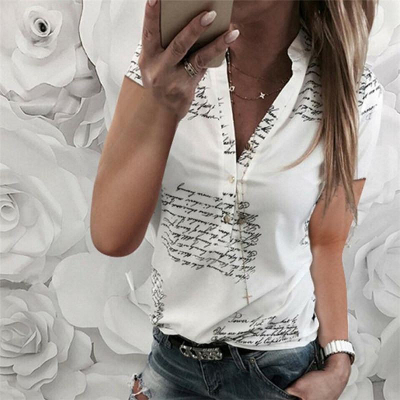 Summer Women Tops Casual Short Sleeve Turn-Down Collar Fashion Women Blouse Shirt Chiffon Print Blouses Ladies Blusas Clothings