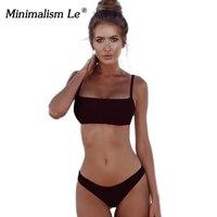 Minimalism Le 2018 New Bikinis Sexy Bandeau Women Swimwear Solid Low Waist Bikini Set Retro Female