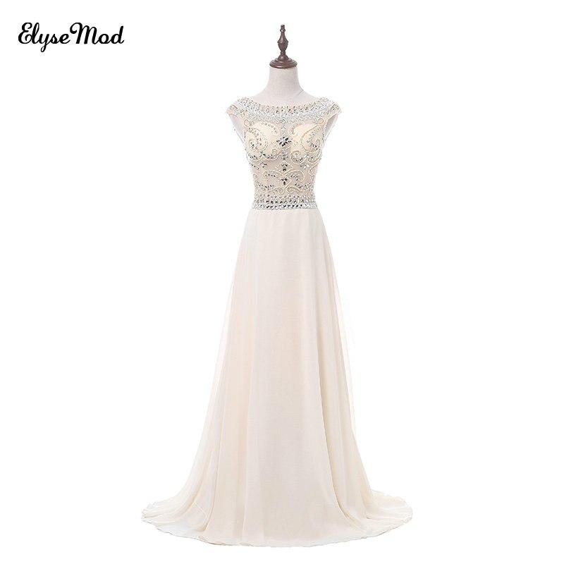 Cristal luxueux a-ligne longues robes de soirée 2018 bijou décolleté Champagne Pageant robes de bal robes de soirée formelles