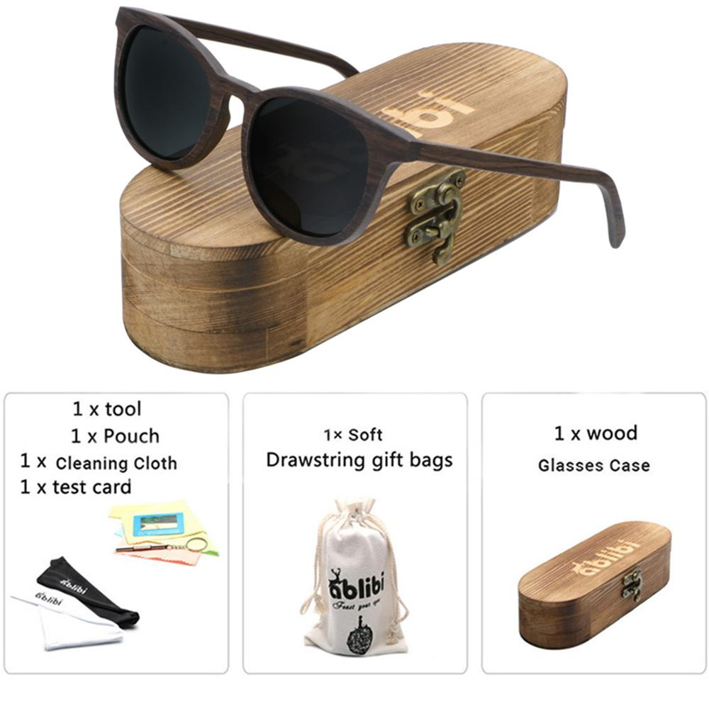 Sunglasses Men,Wood Sunglasses UV400 Polarized Brown Round Walnut Wooden Sunglasses gafas de sol mujer with Gift Box