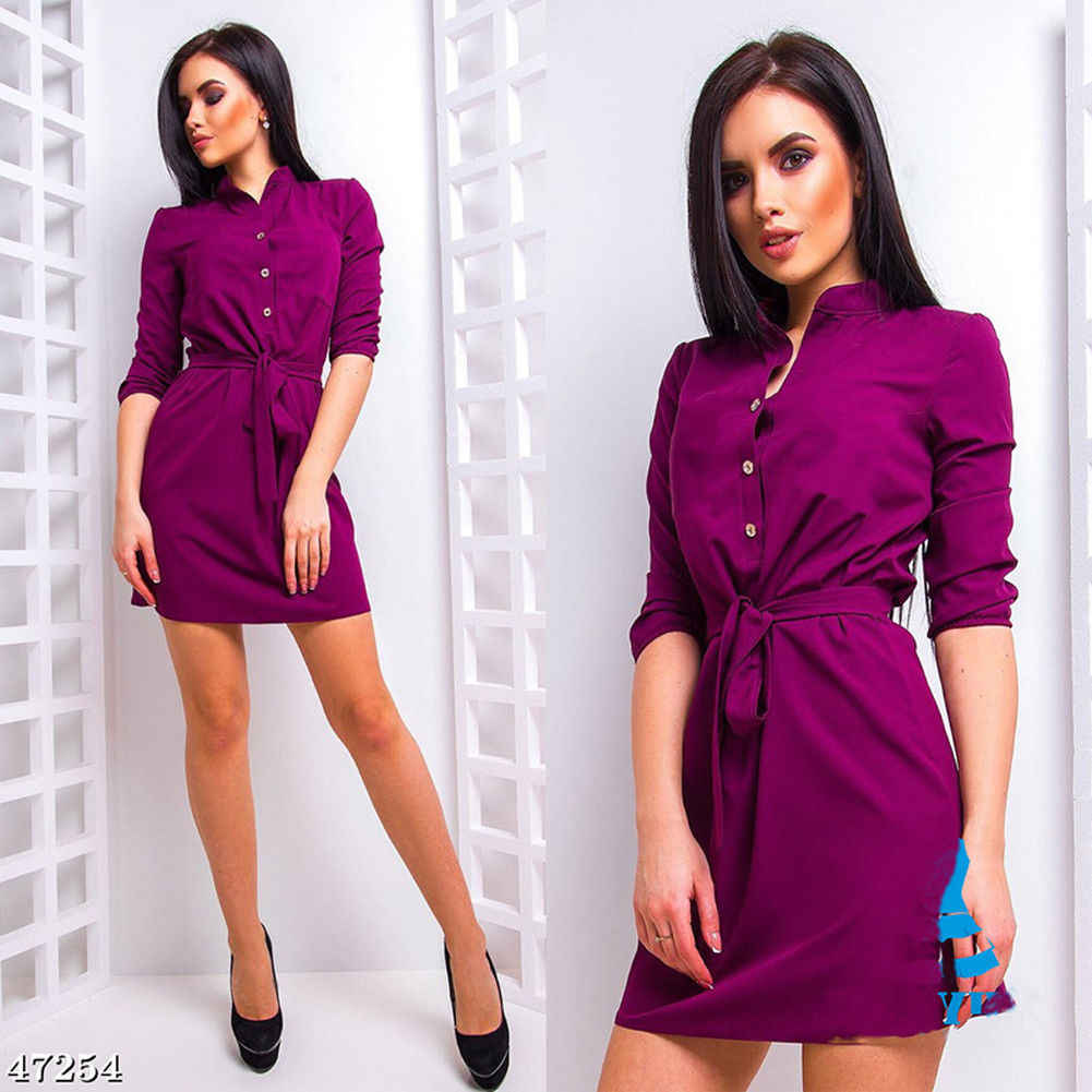 Womens Stand Collar Loose Dress Elegant Waist Band Beach Party Dresses