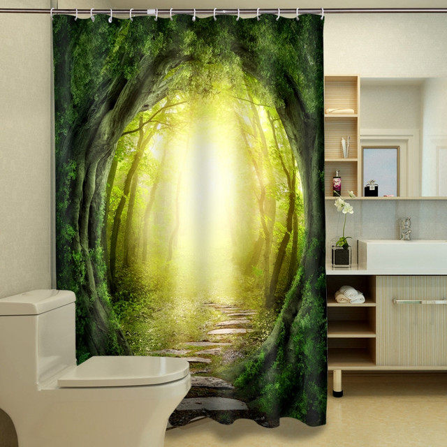 3D Beach Scenery /Magic Forest Shower Curtain Bathroom Products ...
