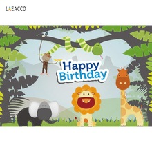 Baby Cartoon Jungle Safari Themed Party Animals Birthday Photo Backgrounds Photography Backdrops For Studio