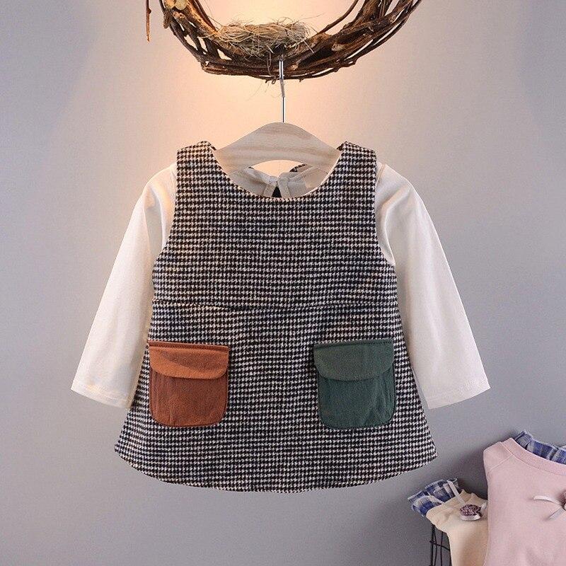 2019 Spring Baby Infant Girls Kids Love Doll Collar Basic Long Sleeve T-shirt+ Pocket Princess Dress 2pcs Set C1858