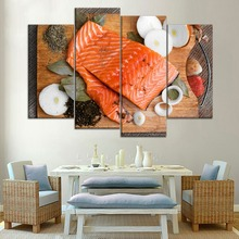 Modern Food Painting For Sushi And Salmon Restaurant Wall Decor 4 Panel Modular Style Meat Butter Poster Canvas Print