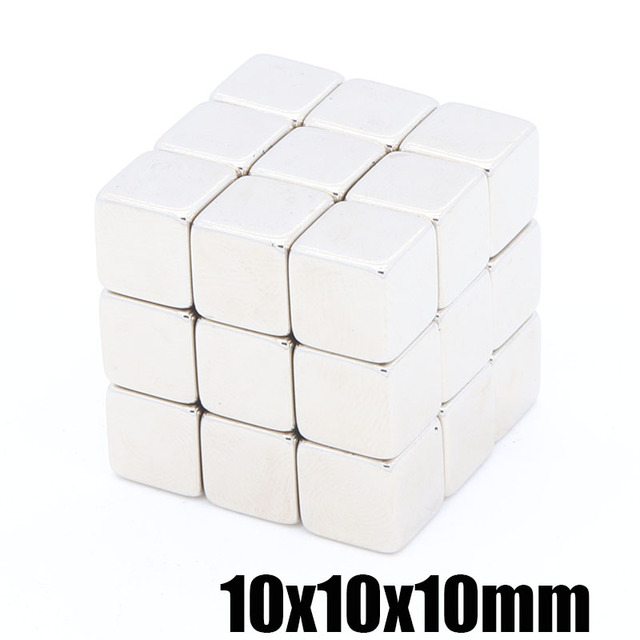 5pcs  10x10x10mm NdFeB permanent magnets Super rare earth magnet Square magnet 10X10X10MM Strong magnetic cube