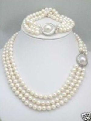 Livraison gratuite mode photo> triple brins mer du sud collier de perles blanches Bracelet ensemble fermoir Mabe