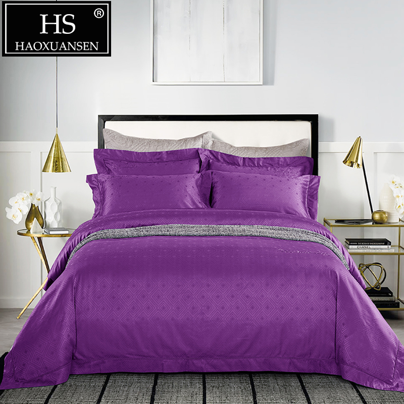 HS Luxury Queen King Size Purple Jacquard 4pcs Comforter Bedding Sets 100S High-Density Bed Linen Set 100% Cotton Double Bet SetHS Luxury Queen King Size Purple Jacquard 4pcs Comforter Bedding Sets 100S High-Density Bed Linen Set 100% Cotton Double Bet Set