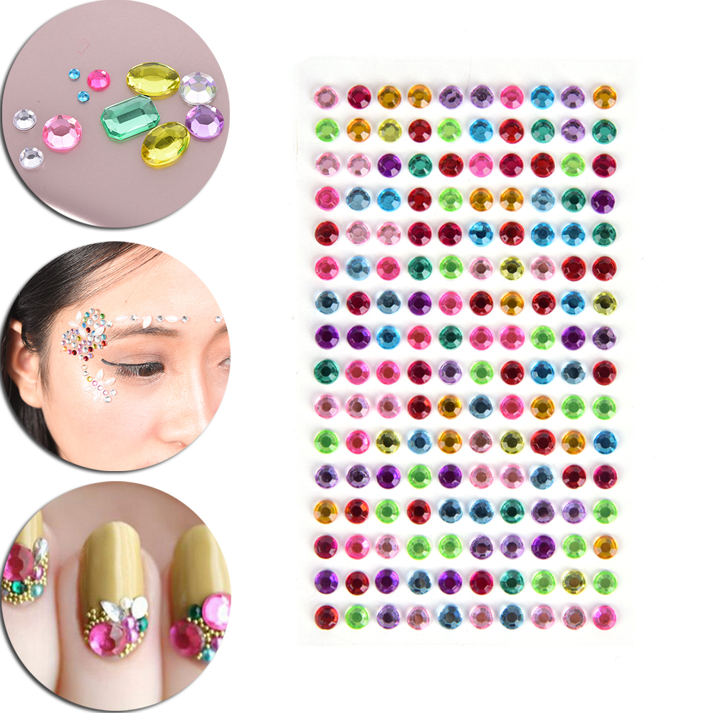 160Pcs/sheet  Diy Decal Art Crystal Diamond Bling Rhinestone Self Adhesive Stickers For Phone Case Makeup Face Decoration