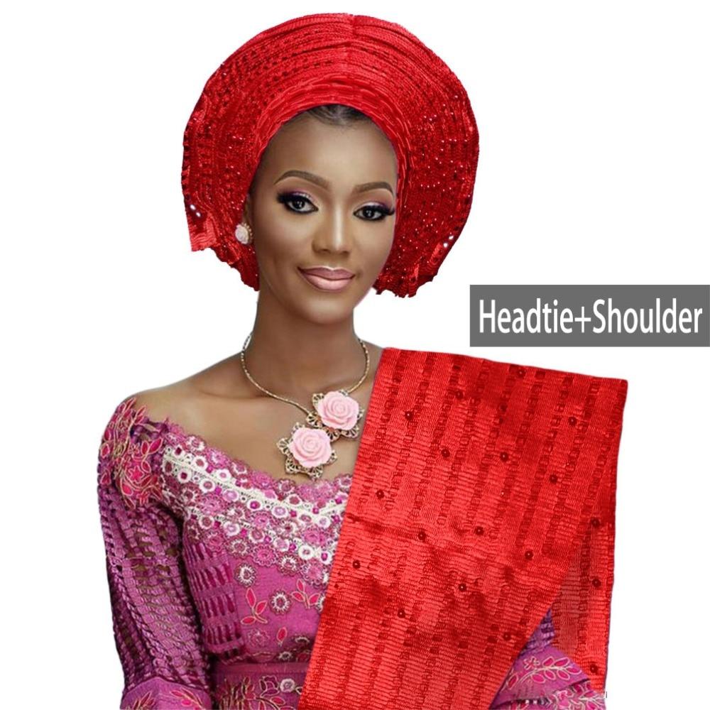African aso oke gele headtie beaded headwrap Nigerian&African Wedding Party auto gele (1)