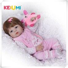 KEIUMI Bebê Reborn Menina Ruiva 55cm Corpo Silicone Siliconado Pode Banho Molhar Olhos Azuis Fofa Chupeta Magnética Natal Presen