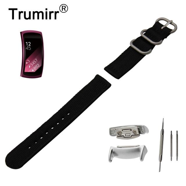 9f11f90e54 18mm Nylon Watch Band + adaptadores para Samsung Gear Fit 2 SM-R360 Zulu  tela