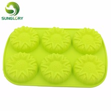 лучшая цена Cake Decorating Tools 6 Flowers Fondant Silicone Cake Pan Candy Jelly Soap Silicone Decoration Mold Cupcake Baking Pan Bakeware