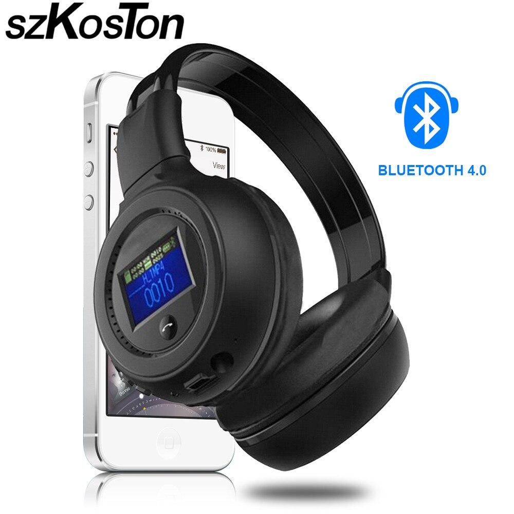 Bluetooth Wireless Headphones With LCD Screen Multi-Function Build-in HD MIC Bluetooth Earphone TF Card Slot+FM Radio+ MP3 2016