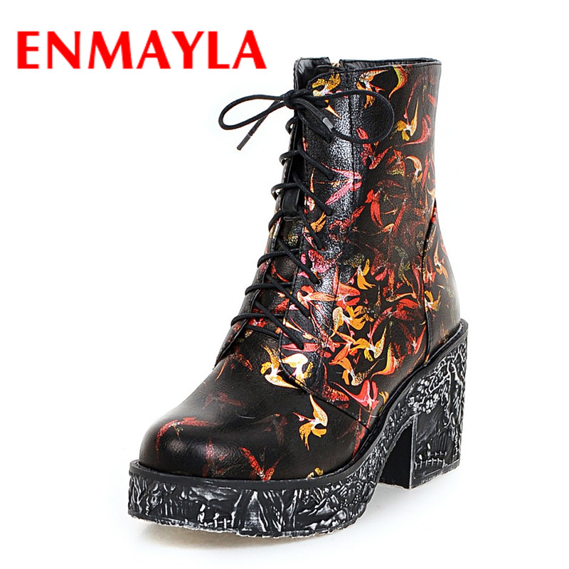 ENMAYLA Graffiti High Heels Winter Boots Shoes Woman Round Toe Cross-tied Ankle Boots for Women Plus Size 34-43 Mixed ColorsShoe enmayla autumn winter chelsea ankle boots for women faux suede square toe high heels shoes woman chunky heels boots khaki black