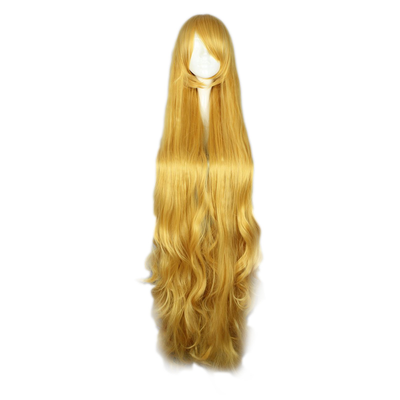 MCOSER 135 CM Long Wavy heat Resistant Synthetic hair Yellow Color Cosplay Costume Wig 100% High Temperature Fiber 501D