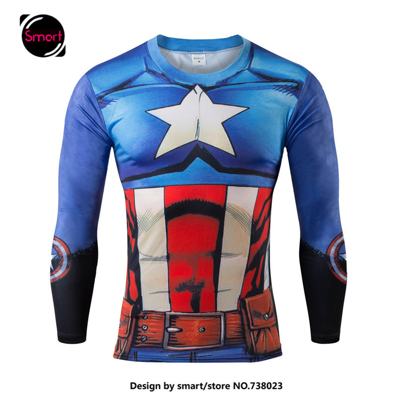 2017 marvel superhero captain america t shirt men base long sleeve top superman batman fitness. Black Bedroom Furniture Sets. Home Design Ideas