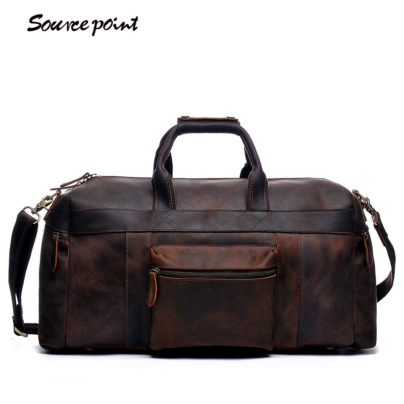 SOURCE POINT Hot Sale Vintage Genuine Leather Crazy Horse Large Capacity Handbag Crossbody Travel Luggag Bag for Man YD-8030 neweekend 1005 vintage genuine leather crazy horse large 4 pockets camera crossbody briefcase handbag laptop ipad bag for man