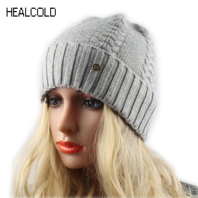 2019 Brand Women Winter Hat Twist Knitted Cashmere Wool Beanie Hat Casual Warm Skullies Caps