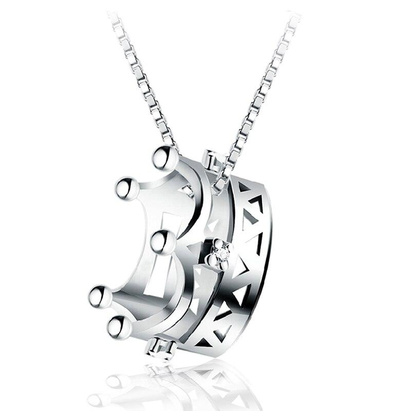 b65ad62cd223 JEXXI amantes mejor regalo Simple elegante cadena de Plata de Ley 925 de  circón cúbico corona colgante de collar para las mujeres joyería de moda