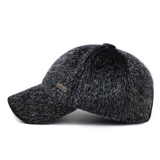 ad79a8e669b placeholder New Men s Winter Warm Faux Mink Fur Baseball Cap Male Thick  Thermal Caps for Dad Caps