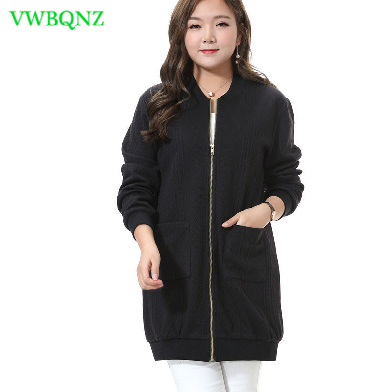 Extra Large Women's Windbreaker Spring Loose Add Cotton Sweater Women Pure color Round neck Long sleeve Knitted   Trench   Coat A22