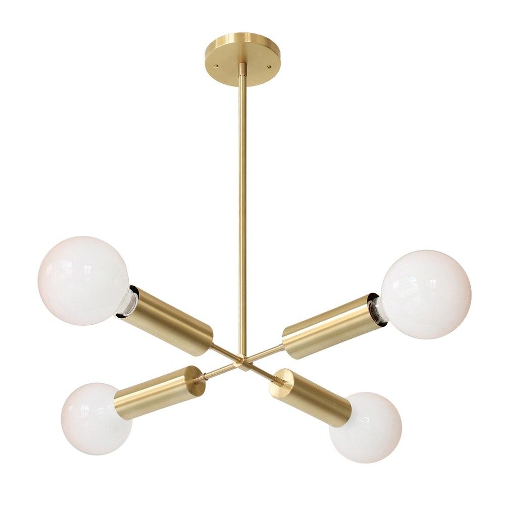 Вся медь простой четыре головы формы модели, дизайнер, вилла, ресторан, спальня, люстра DIY tube Кубок гнездо подвесной светильник