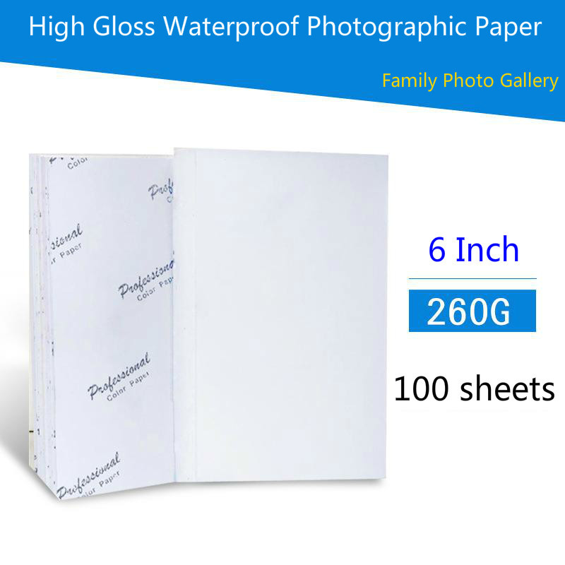 260G 6inch Photo Paper 4R 100 Sheets High Premium Glossy Printer Photographic Paper Printing For Inkjet Printers Office Supplies