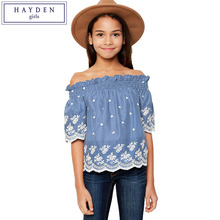 HAYDEN Girls Off Shoulder Cotton Blouses Kids Floral Embroidery Ruffle Blouse Shirt Child Shoulderless Tops Casual Chemise
