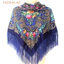 2018 Luxury Brand for Woman Print Scarf Russian Ethnic Style Cotton Flower Pattern Tassel Winter Warm Square Blanket Scarf Shawl
