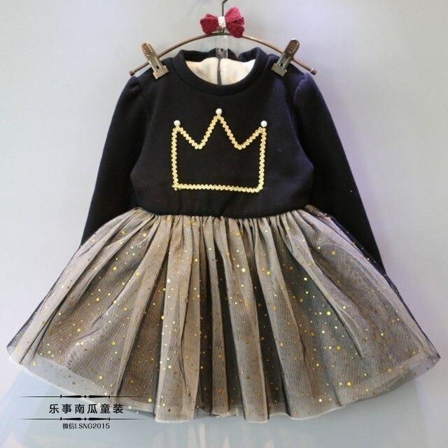 [Bosudhsou.] # J-11 Девочка Платье С Длинным Рукавом Девушки Туту Платье Принцессы Хлопка Малышей Корона Одежда Vestido Детская Одежда