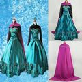 New Pricess Anna Dress Cosplay Costume  Adult Vestido Lake Green Silk Princess Outfit Cosplay Costume Dress+Cape Pop Style S-XXL