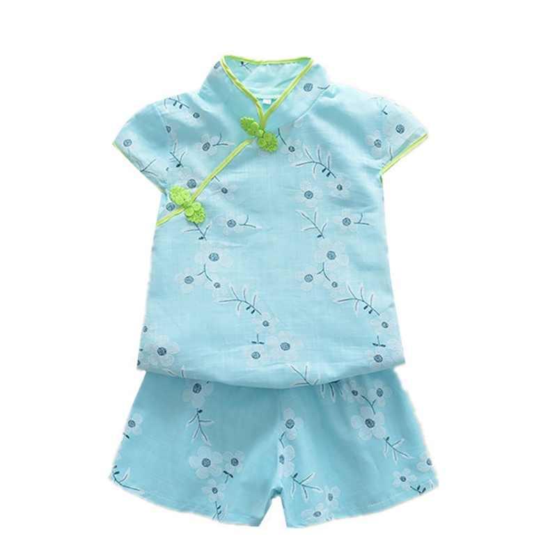 夏幼児キッズガールズ服花 Tシャツトップス + ショーツ中国風のチャイナ綿唐スーツセット 2 個