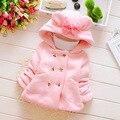 Otoño bebé parka plus grueso terciopelo de los bebés de nieve desgaste infantil niñas ropa de abrigo abrigo de doble botonadura arco toddler girls clothing
