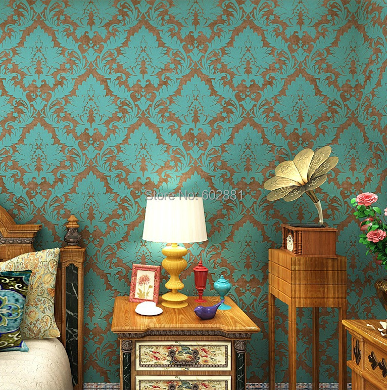 HaokHome Vintage Retro Damask Floral Non Woven Wallpaper Blue Bronze Rolls Contact paper home Living room