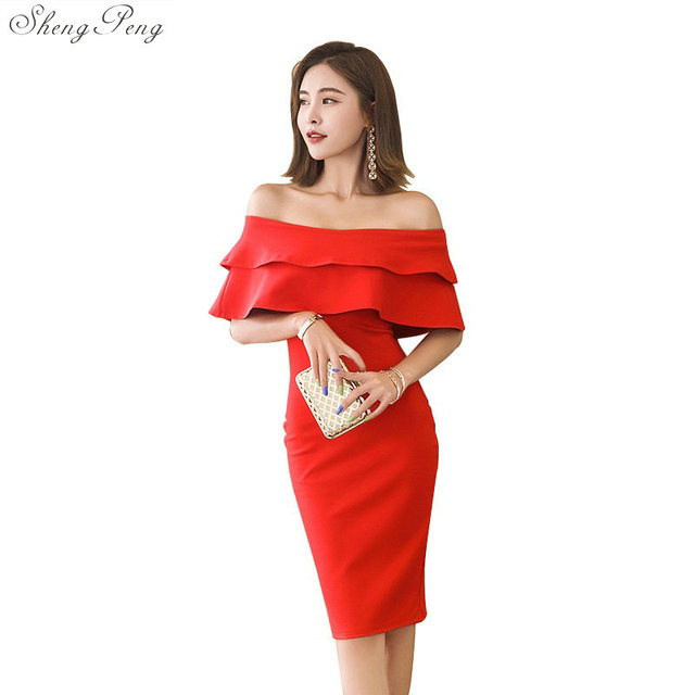 d59bd3407826 Off shoulder sundress dress for women sexy bodycon dresses event party  night strapless dress slash neck sexy dress Q345