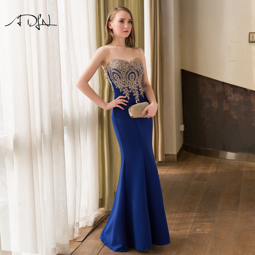 ADLN Elegant Royal Blue   Bridesmaid     Dresses   Long Scoop Sleeveless Plus Size Wedding Party   Dress   Mermaid Maid of Honor Gown 2019