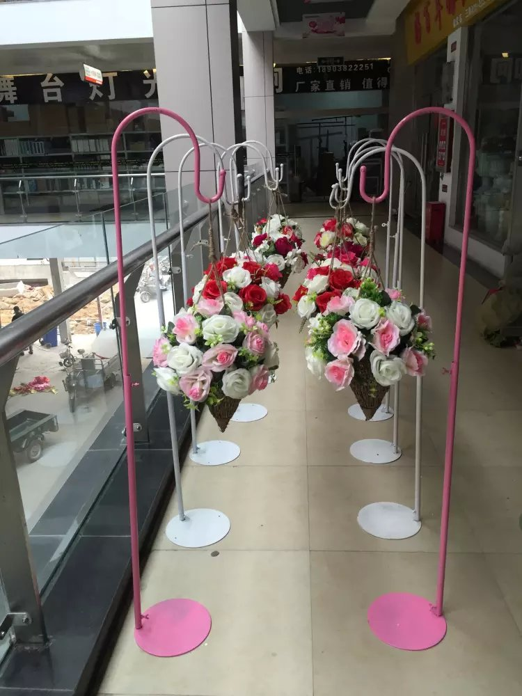 White Or Pink Wedding Hook Metal Road Lead For Wedding Flower Stand Party Props Wedding