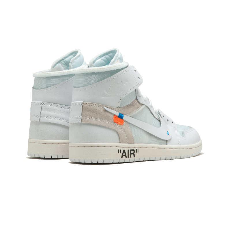 hot sale online 15086 97959 Nike Official Air Jordan 1 X Off-white Men's Basketball Shoes Outdoor  Anti-slip Aj1 Sports Sneakers# AQ0818-100