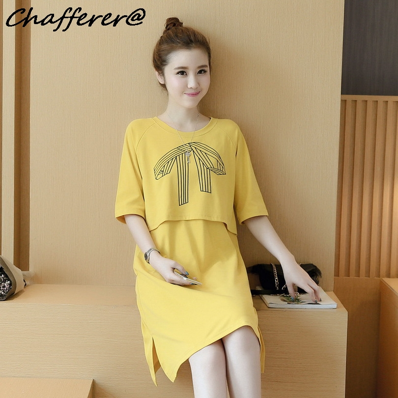 Chafferer Plus Cozy Clothes for Pregnant Women Summer Cotton Pregnancy Dress 2018 Summer Fresh Maternity Dresses Clothing Yellow