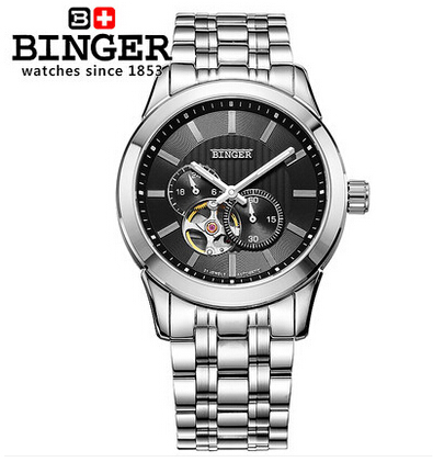 2017 Newest Casual Binger Watches Military Chronograph Wristwatch Hollow Auto Date Luxury Black Dail Stop Watch