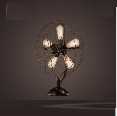 LOF вентилятор ретро настольная лампа американский ностальгию Nordic industrial ветер гостиная ресторан кофе спальня прикроватная бар gy338