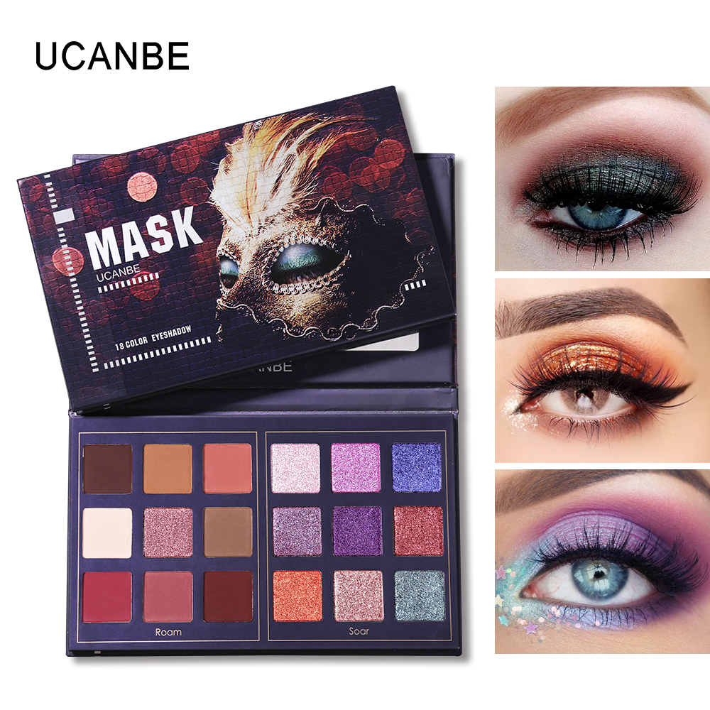 UCANBE Brand Mask Shimmer Matte Eyeshadow Makeup Palette 18 Colors Glitter Pigmented Eye Shadow Sombras Long Lasting Cosmetics