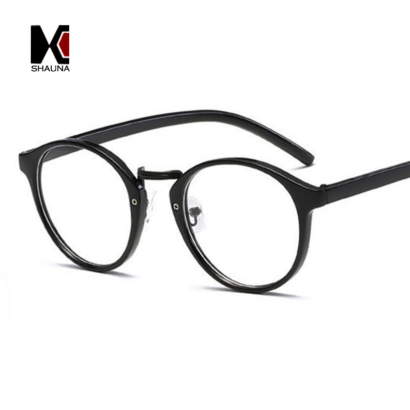 SHAUNA Fashion Round Eyeglasses Frames Brand Designer Men Black ...