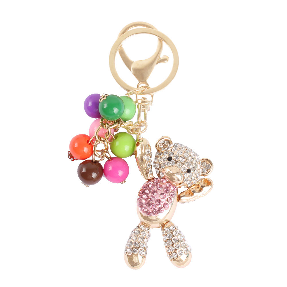 New Arrive Fashionable Charm Pendant Bear Pink Belly Arm Move Bead Pearl Cute Rhinestone Crystal Purse Bag Key Chain Gift