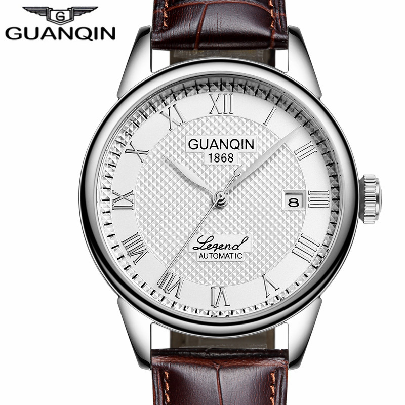 Men Watches 2016 GUANQIN Automatic Self-Wind Date Watch Mens Top Brand Luxury Mechanical Leather Wristwatch relogio masculino