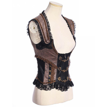 Vintage Victorian Steampunk Waist Cincher Corset Vest Trimming with Lace SP168