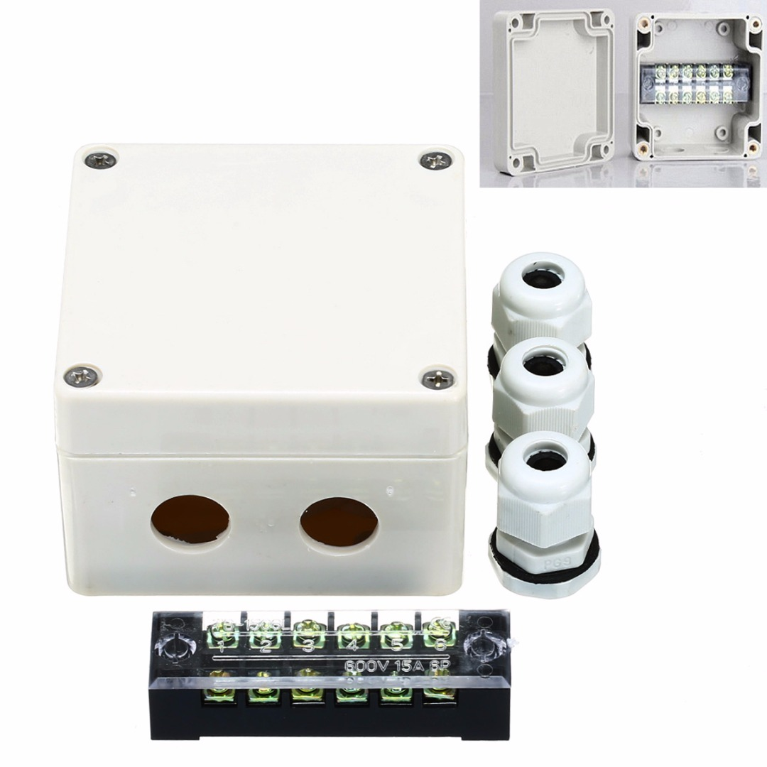 1pc ABS Waterproof Junction Box 15A 600V Mayitr Outdoor Indoor Distribution Box Electric Enclosure Case 6 Ports 83*81*56mm white abs plastic waterproof dust proof junction box 36mm open hole diy electrical connection outdoor monitor distribution box